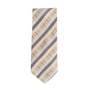 Silk Ties Krawatte Seide Grau Orange Gestreift 8,5 cm