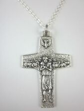 """Ladies Pope Francis Good Shepard Cross 1 5/8"""" Italy Pendant Necklace 20"""" Chain"""