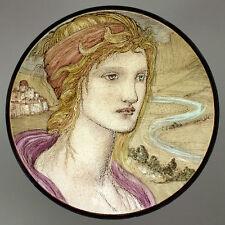 Burne Jones female portrait stained glass fragment, preraphaelites, kiln fired