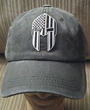 Thin Green Line Flag Spartan Helmet Light Black Pigmented Dyed Baseball Cap Hat
