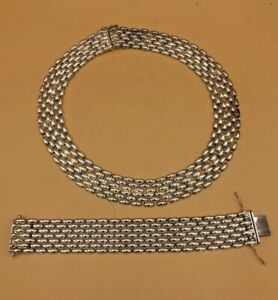 Vintage Silver Necklace/Choker with Matching Bracelet MADE IN ITALY