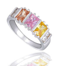 SALE Silver Plated Colourful Crystal CZ Baguette Square Cocktail Ring Size R/8.5