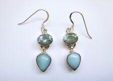 Sterling Silver Blue Larimar Aquamarine Dangle Earrings