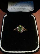 STUNNING 10KT YELLOW  PERIDOT & DIAMOND RING SIZE 7.25