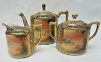 Nippon Handpainted Made in Japan 5 piece tea set Swans on Lake brass finial