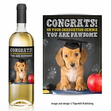 Personalised Congratulations Graduation Well Done Dog Wine Bottle Label Gift