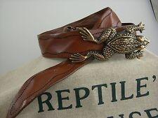Original Reptile's House Gürtel + Schliesse Sattelleder von Hand bestickt SLRH4