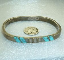 Turquoise, Marked Mexico 925 Sterling Silver Hinged Bracelet with