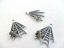 3 x Antique Silver Tibetan Alloy Spider Web charms / Pendants - Lead Free