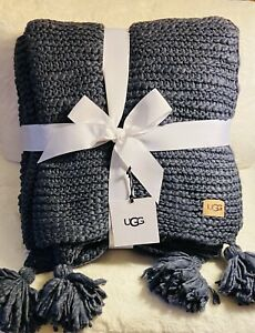 """NWT UGG """"PAOLA"""" Throw Knit Blanket 50"""" X 70"""" Color - Denim/Navy MSRP- $168.00"""