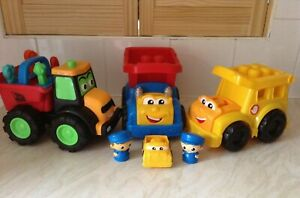 Kids Large Construction Vehicles x 3 including JCB & Car Plus 2 Characters.