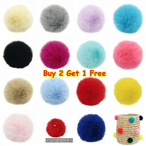 Pack of 2 Faux Rex Rabbit Fur Pom poms Ball for Basket Blanket Hat DIY Accessory