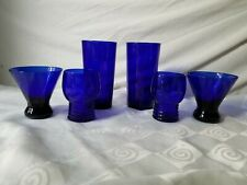 Cobalt Blue Glass Mixed Lot Libbey Hand Blown Water 2 Juice 2 Cocktail 2 Set'o 6