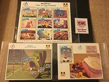 Walt Disney's How to Play Football St Vincent Stamp Set w/ COA VHTF