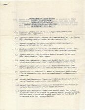 1952 FORMATION OF THE DALLAS TEXANS FOOTBALL TEAM Rare Vintage Document