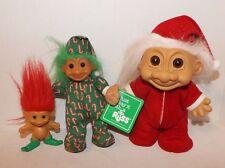 Lot Of 3 Russ Christmas Troll Dolls-Santa-Elf-Candy Cane Pajamas-Luv-Pet