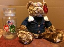 2 Pieces M&M Candy Jar 1984 Olympics & Collector Bear 2002