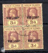 More details for virgin islands kgv 1916-19 3d war stamp sg#79a fu block ws13371