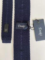 New 2020 Drake's London Tie ELEGANT STYLE Navy Knit Tie Staple