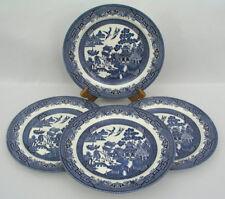 "(4) CHURCHILL  BLUE WILLOW - 10 1/4"" DINNER PLATES - BLACK LION MARK - EXCELLENT"
