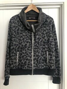 Marks & Spencer Size 16 Grey Leopard Print Crown Neck Full Zip Jacket