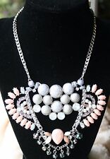 Silver Tone Colorful Crystal & Stone Frontal Statement Necklace NWT $38