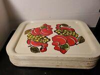 Vintage Metal TV Serving Trays Lap Trays Set of 13 Fruit Design 14 x10