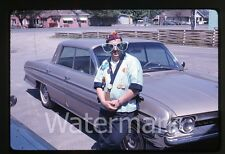 1963  Photo slide Man with big clown sunglasses Oldsmobile car automobile