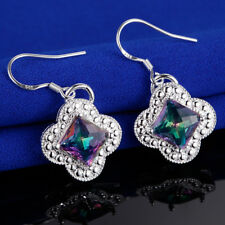 Holiday Gift Square Cut Rainbow Mystical Fire Topaz Gems Silver Dangle Earrings
