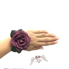 Wedding corsage, Burgundy bridesmaid corsage, Wine wrist corsage, Rose bracelet