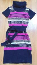 Adorable Turtleneck Sweater Dress,Girls, Size 6X, Brown, Pink, White Pre-Owned
