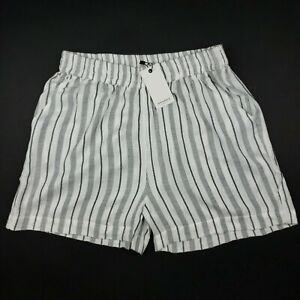 ANTHROPOLOGIE SPARKZ High Waisted Shorts White Gray Striped XS S L - NWT