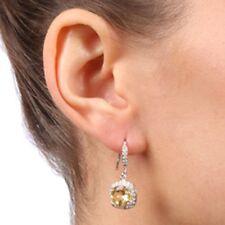 Citrine Diamond Alternatives Squared Dangle Earrings 14k White Gold Over 925 SS