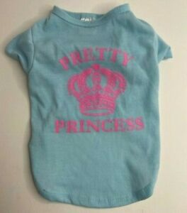 """New SIMPLY WAG Blue Pink """"PRETTY PRINCESS"""" T-shirt  Puppy/Dog - Small"""