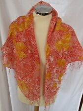Orange and Yellow Roses Square Scarf With Silver Stripes Tassels 01