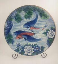 JAPANESE KOI FISH POND PLATE Vintage Hand-Decorated Painted Floral Porcelain ART