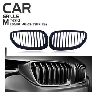 Pair Front Kidney Grille Cover For BMW E60 E61 5 Series 2003-2010 Matte Black