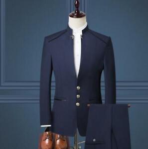 Mens 3PCS Jacket+Vest+Pants Business British Style Stand Collar Slim Fit Dress