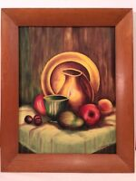 Retro Framed Oil Painting Signed Fruit Still Life Vintage