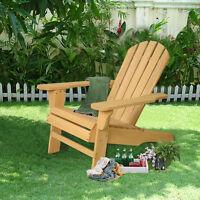 New Outdoor Natural  Fir Wood Adirondack Chair Patio Lawn Deck Garden Furniture