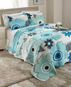 3-Pc Floral Bloom Quilt Sets Full Queen King Elegant Contemporary Spring Bedding