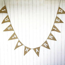 3.5M Hessian JUST MARRIED Bunting Burlap Rustic Shabby Wedding Banner 12 Flags
