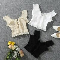 NEW Floaty Peplum Frill Corset Style Lace Sexy Crop Top Blouse Summer Aesthetic