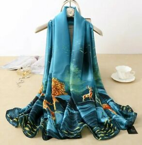 Silk Scarf in Turquoise With Gold Country Deer Print Design Ladies Womens Scarf