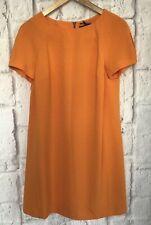 M&S Womens Dress Size 12 Petite Orange S/Sleeve Crepe Non-Iron Shift NEW RRP £39