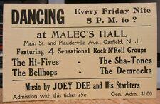 Joey Dee & The Starliters Dance Ticket Malec'S Hall Garfield N.J. The Hi-Fives +