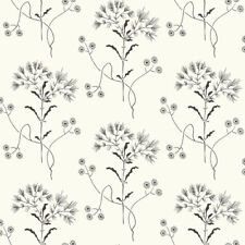 Black on White Country Wildflower Wallpaper