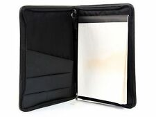 Black Pu Leather Zipper Binder Portfolio Organizer Business Office Folder
