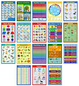 PRESCHOOL 18 x EDUCATIONAL GLOSSY POSTERS for Children Alphabet Learn to Count