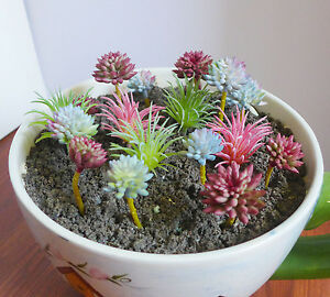 Artificial Succulents Mini 17 Pcs Flocking Grass